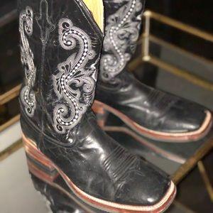 Men's Ferrini Black Gator Belly Print Cowboy Boots
